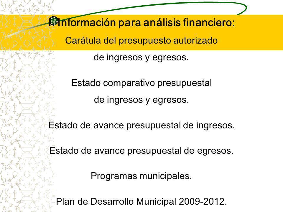 I.Información para análisis financiero: Carátula del presupuesto autorizado de ingresos y egresos.