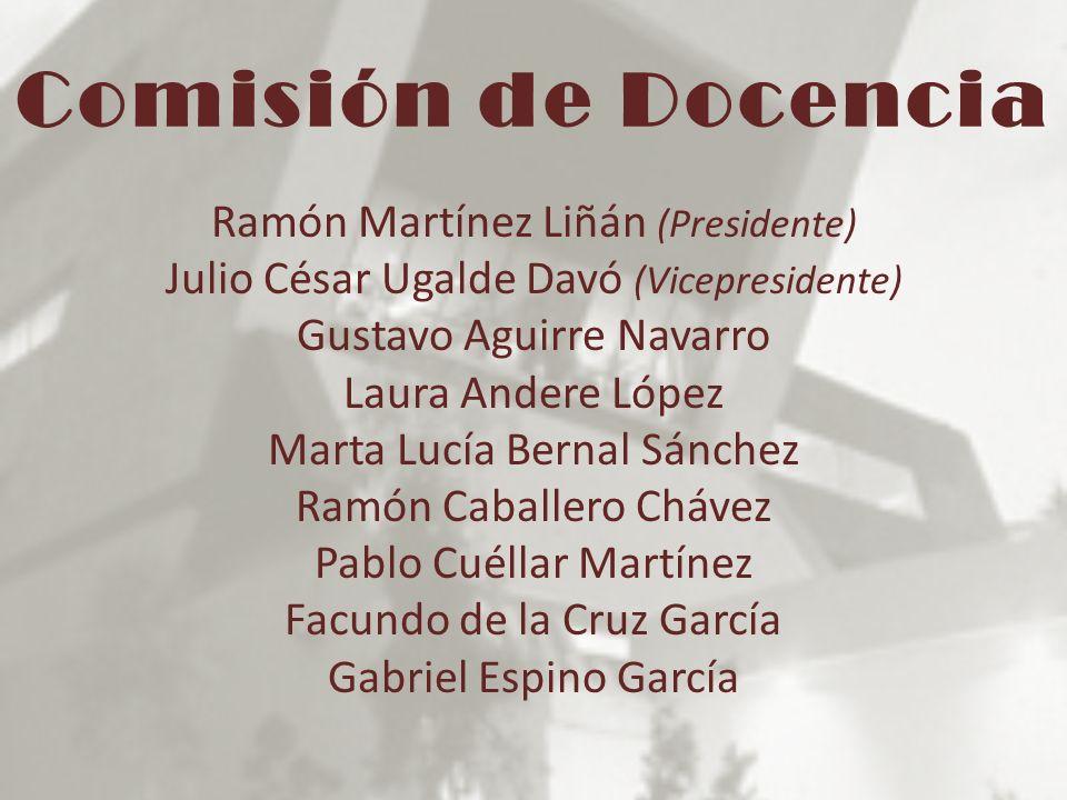 Comisión de Docencia Ramón Martínez Liñán (Presidente) Julio César Ugalde Davó (Vicepresidente) Gustavo Aguirre Navarro Laura Andere López Marta Lucía