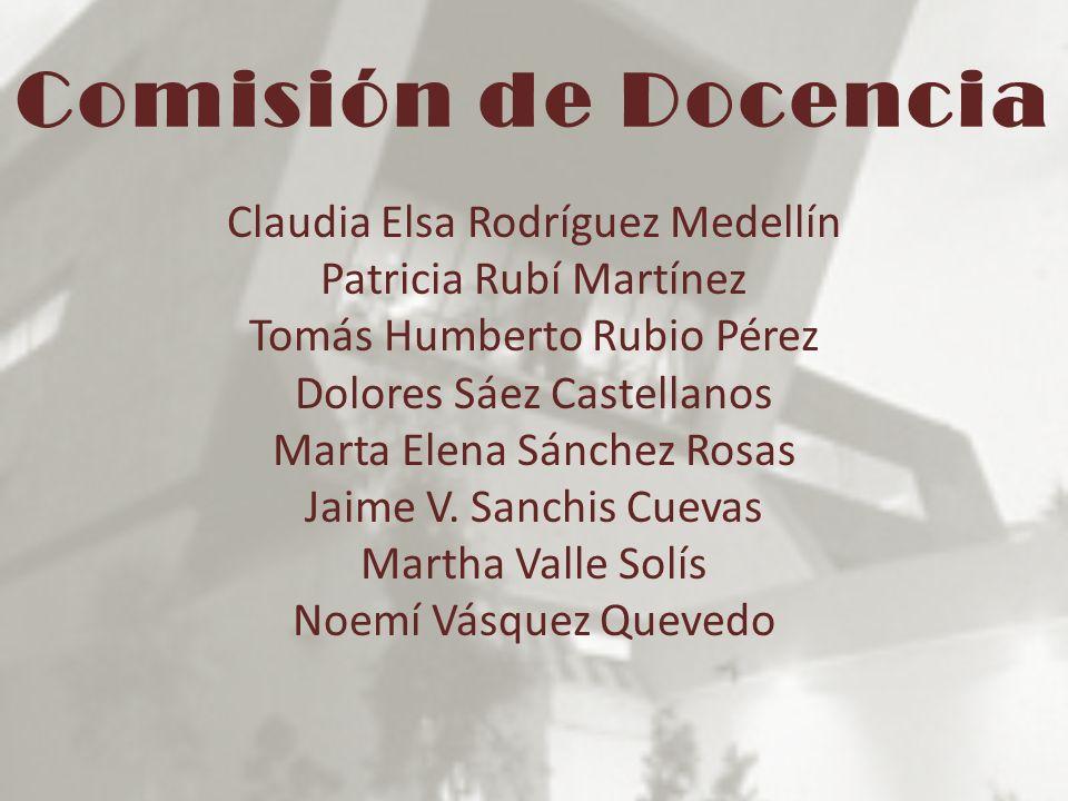 Comisión de Docencia Claudia Elsa Rodríguez Medellín Patricia Rubí Martínez Tomás Humberto Rubio Pérez Dolores Sáez Castellanos Marta Elena Sánchez Ro