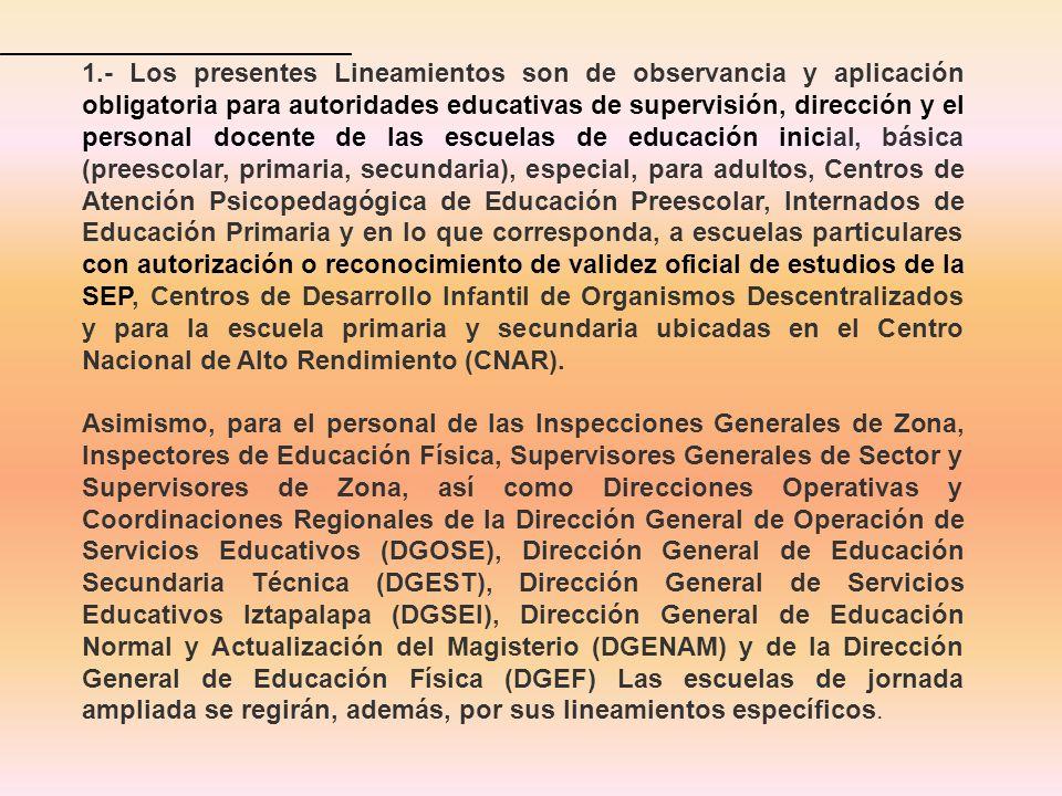 1.- Los presentes Lineamientos son de observancia y aplicación obligatoria para autoridades educativas de supervisión, dirección y el personal docente