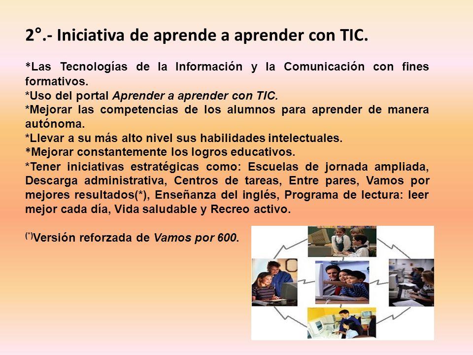 2°.- Iniciativa de aprende a aprender con TIC. * Las Tecnologías de la Información y la Comunicación con fines formativos. *Uso del portal Aprender a