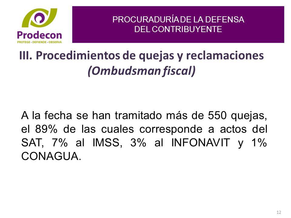 PROCURADURÍA DE LA DEFENSA DEL CONTRIBUYENTE 12 III.