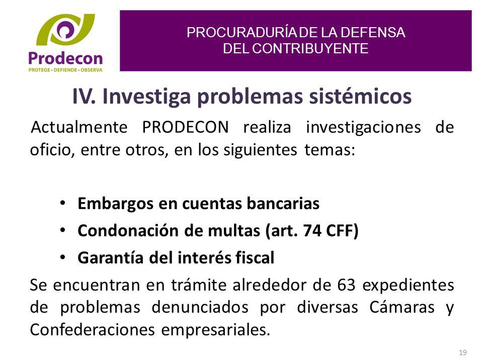 PROCURADURÍA DE LA DEFENSA DEL CONTRIBUYENTE 19 IV.