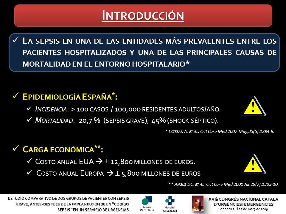 VARIABLES GRUPO HISTÓRICO (GH) GRUPO CONTROL (GCS) P S EGUIMIENTO DE LAS RECOMENDACIONES (P AQUETE DE R ESUCITACIÓN ) Determinación de lactato55,2%86,4%0,017 HC* en las primeras 3 horas69%95,5%0,018 HC* antes de la antibioticoterapia62%95,5%0,005 Sueroterapia durante la 1ª hora 825 ml1261 ml0,009 D ESTINO Planta de hospitalización73%82%> 0,05 Unidad de Cuidados Intensivos27%18,2%> 0,05 S EGUIMIENTO Mortalidad34,5%9%0,034 XVIè CONGRÉS NACIONAL CATALÀ DURGÈNCIES I EMERGÈNCIES Sabadell 26 i 27 de març de 2009 E STUDIO COMPARATIVO DE DOS GRUPOS DE PACIENTES CON SEPSIS GRAVE, ANTES - DESPUÉS DE LA IMPLANTACIÓN DE UN CÓDIGO SEPSIS EN UN SERVICIO DE URGENCIAS R ESULTADOS