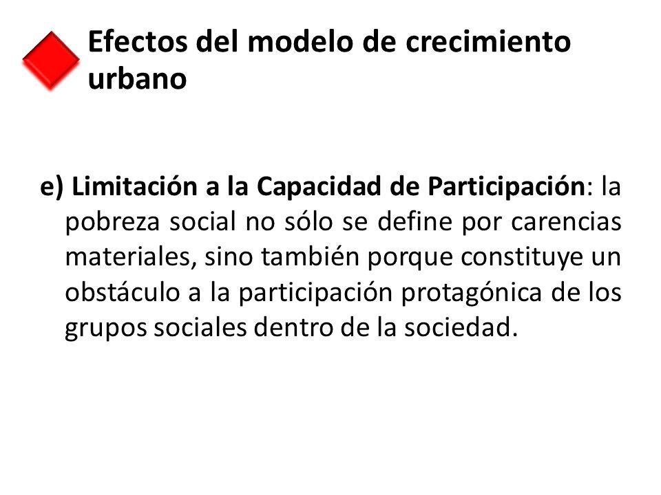 e) Limitación a la Capacidad de Participación: la pobreza social no sólo se define por carencias materiales, sino también porque constituye un obstácu