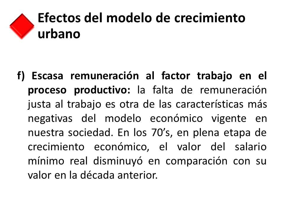 f) Escasa remuneración al factor trabajo en el proceso productivo: la falta de remuneración justa al trabajo es otra de las características más negati
