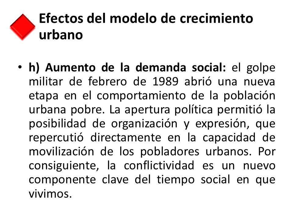 h) Aumento de la demanda social: el golpe militar de febrero de 1989 abrió una nueva etapa en el comportamiento de la población urbana pobre. La apert