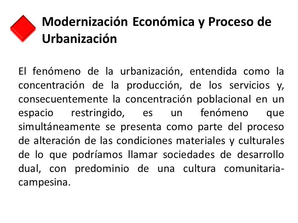 El fenómeno de la urbanización, entendida como la concentración de la producción, de los servicios y, consecuentemente la concentración poblacional en