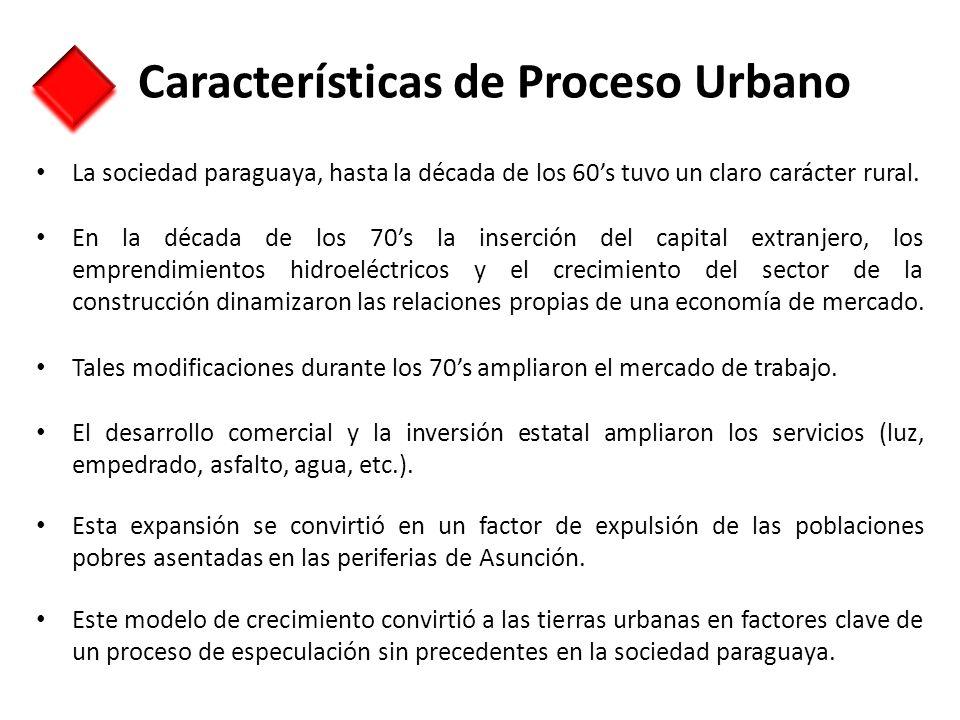Características de Proceso Urbano La sociedad paraguaya, hasta la década de los 60s tuvo un claro carácter rural. En la década de los 70s la inserción