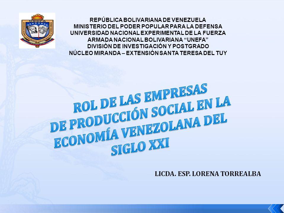 REPÚBLICA BOLIVARIANA DE VENEZUELA MINISTERIO DEL PODER POPULAR PARA LA DEFENSA UNIVERSIDAD NACIONAL EXPERIMENTAL DE LA FUERZA ARMADA NACIONAL BOLIVARIANA UNEFA DIVISIÓN DE INVESTIGACIÓN Y POSTGRADO NÚCLEO MIRANDA – EXTENSIÓN SANTA TERESA DEL TUY LICDA.