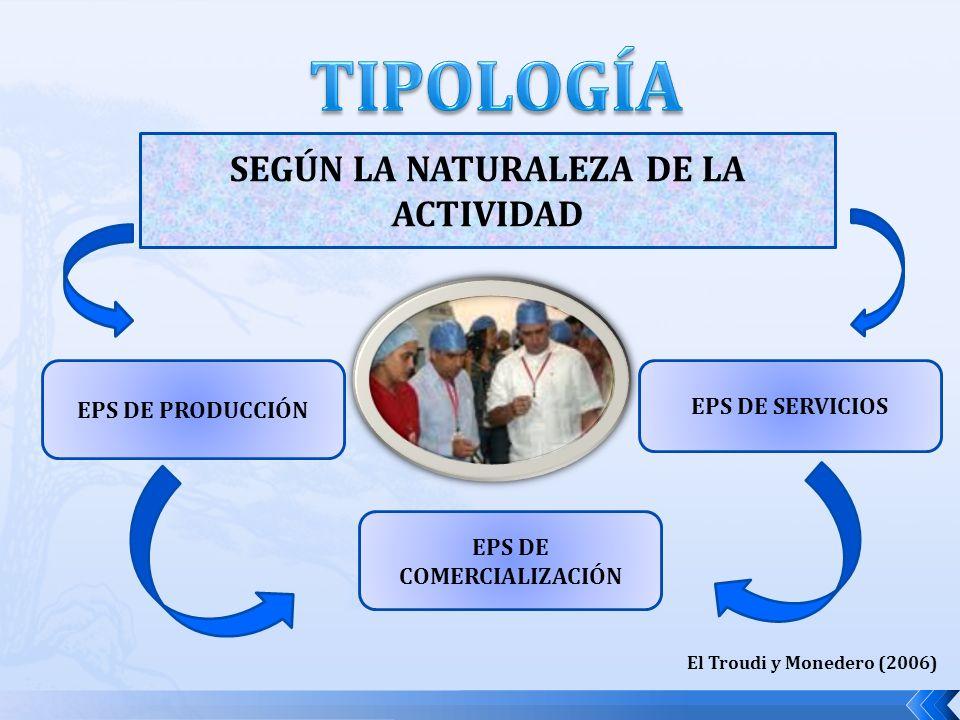 SEGÚN LA NATURALEZA DE LA ACTIVIDAD EPS DE PRODUCCIÓN EPS DE COMERCIALIZACIÓN EPS DE SERVICIOS El Troudi y Monedero (2006)