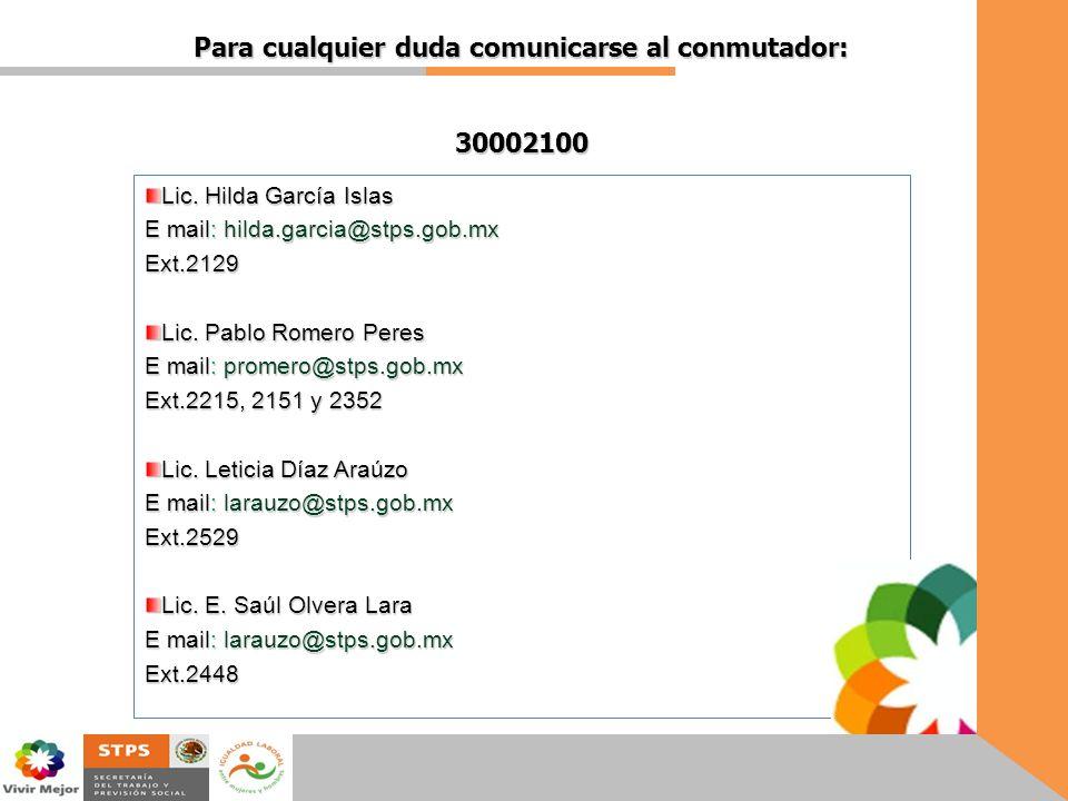 Para cualquier duda comunicarse al conmutador: 30002100 Lic. Hilda García Islas E mail: hilda.garcia@stps.gob.mx Ext.2129 Lic. Pablo Romero Peres E ma