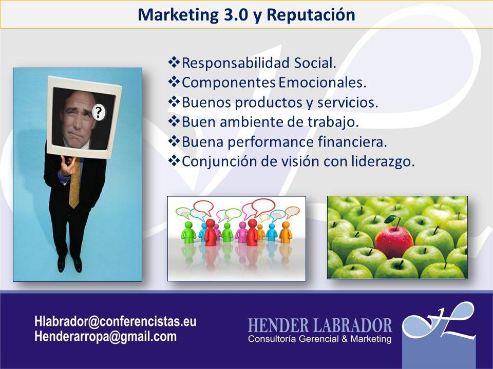 Marketing 3.0 y Reputación Responsabilidad Social. Componentes Emocionales. Buenos productos y servicios. Buen ambiente de trabajo. Buena performance
