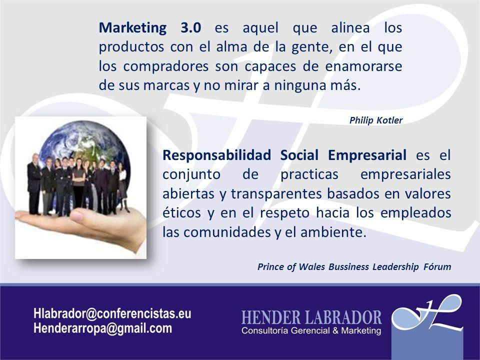 Marketing 3.0 es aquel que alinea los productos con el alma de la gente, en el que los compradores son capaces de enamorarse de sus marcas y no mirar