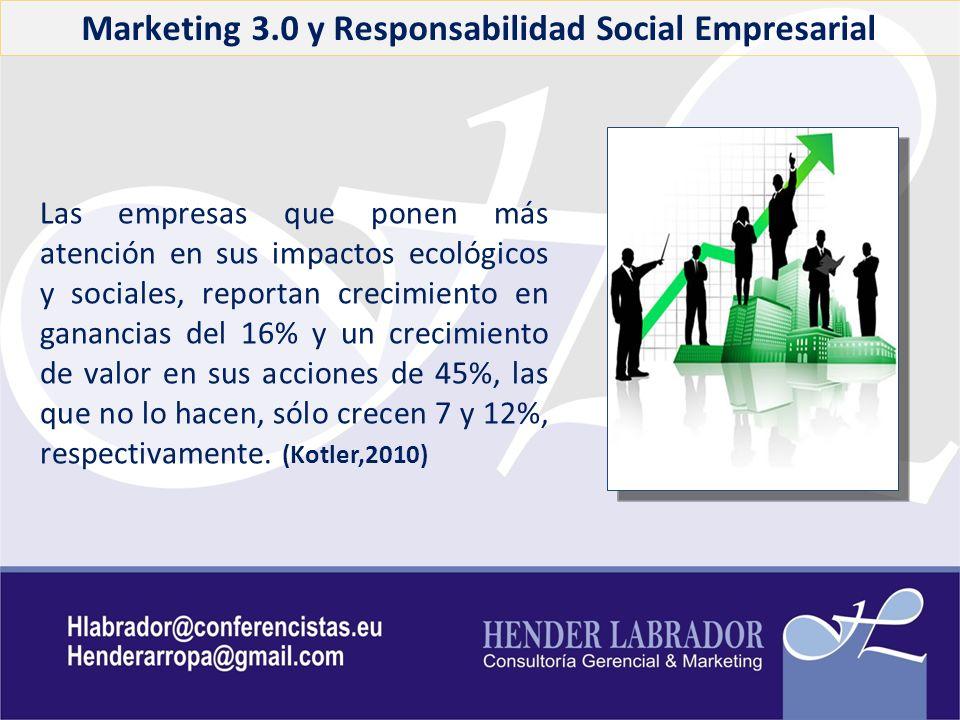 Marketing 3.0 y Responsabilidad Social Empresarial Las empresas que ponen más atención en sus impactos ecológicos y sociales, reportan crecimiento en