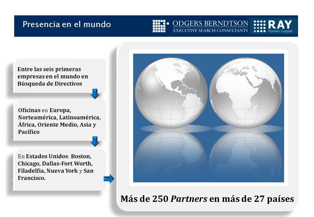 Presencia en el mundo Más de 250 Partners en más de 27 países Entre las seis primeras empresas en el mundo en Búsqueda de Directivos Oficinas en Europa, Norteamérica, Latinoamérica, África, Oriente Medio, Asia y Pacífico En Estados Unidos: Boston, Chicago, Dallas-Fort Worth, Filadelfia, Nueva York y San Francisco.