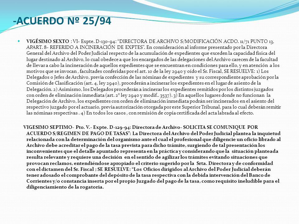 -ACUERDO Nº 25/94 VIGÉSIMO SEXTO : VI- Expte. D-130-94: DIRECTORA DE ARCHIVO S/MODIFICACIÓN ACDO.