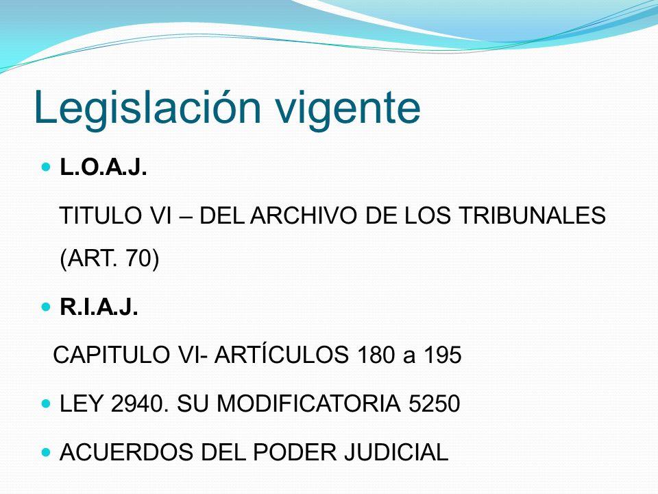 Legislación vigente L.O.A.J. TITULO VI – DEL ARCHIVO DE LOS TRIBUNALES (ART.