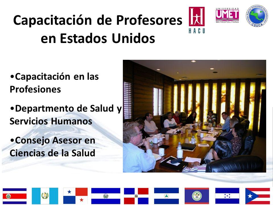Capacitación en las Profesiones Departmento de Salud y Servicios Humanos Consejo Asesor en Ciencias de la Salud Capacitación de Profesores en Estados