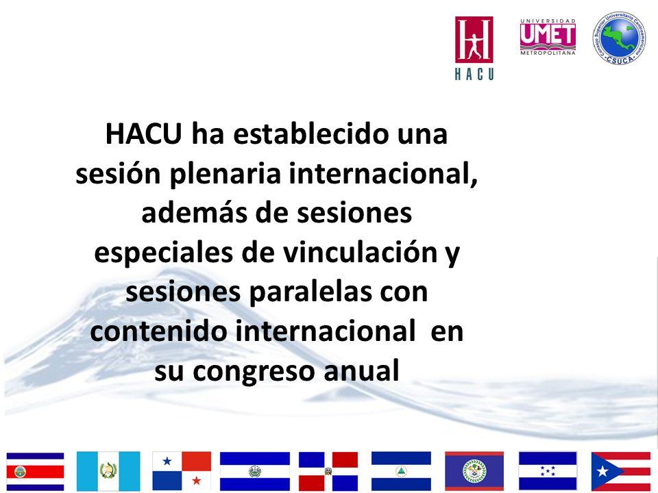 HACU ha establecido una sesión plenaria internacional, además de sesiones especiales de vinculación y sesiones paralelas con contenido internacional en su congreso anual