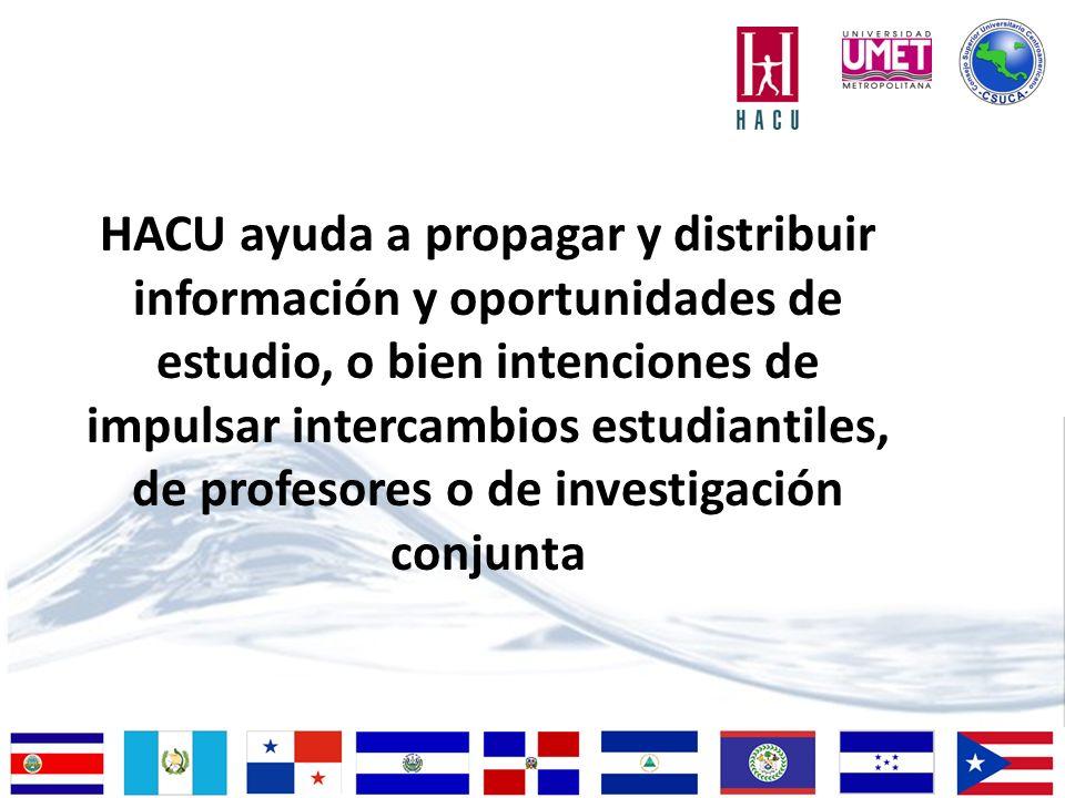 HACU ayuda a propagar y distribuir información y oportunidades de estudio, o bien intenciones de impulsar intercambios estudiantiles, de profesores o de investigación conjunta