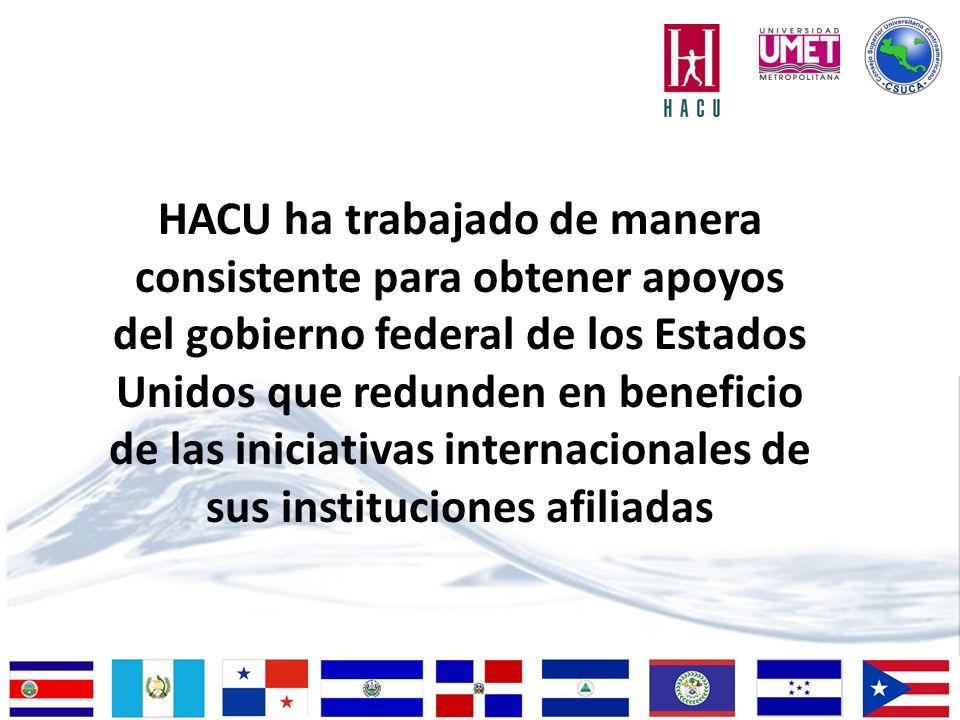 HACU ha trabajado de manera consistente para obtener apoyos del gobierno federal de los Estados Unidos que redunden en beneficio de las iniciativas internacionales de sus instituciones afiliadas