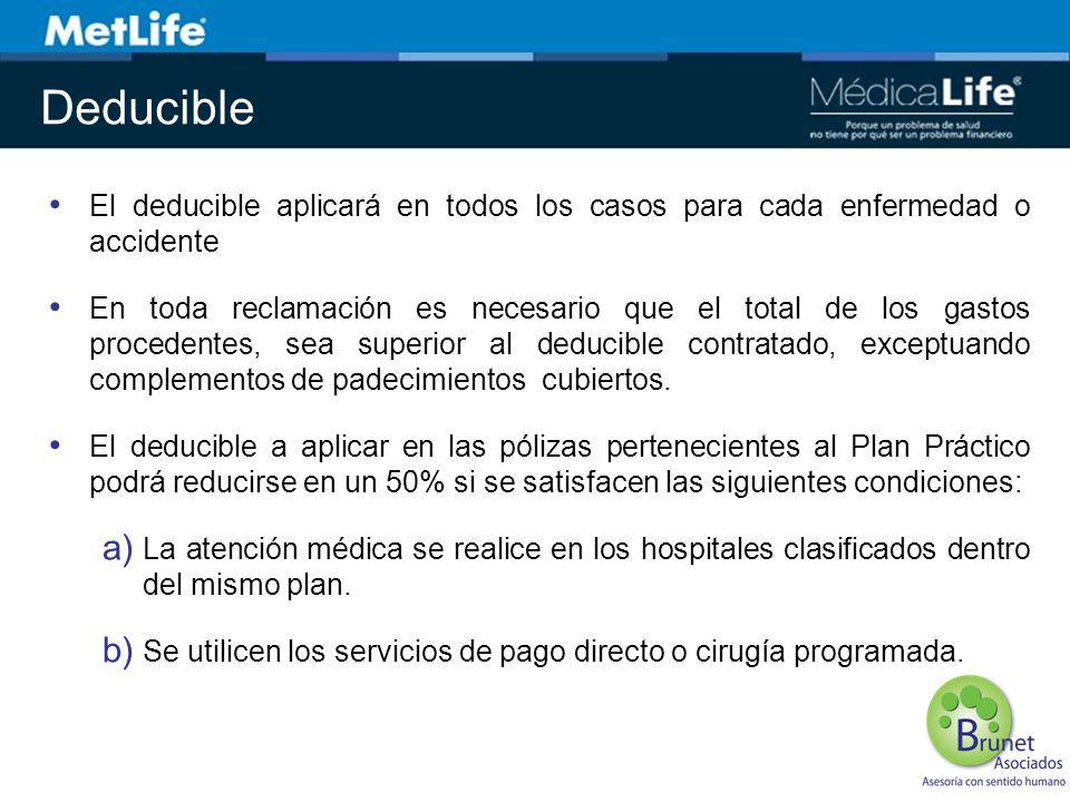 Deducible El deducible aplicará en todos los casos para cada enfermedad o accidente En toda reclamación es necesario que el total de los gastos proced