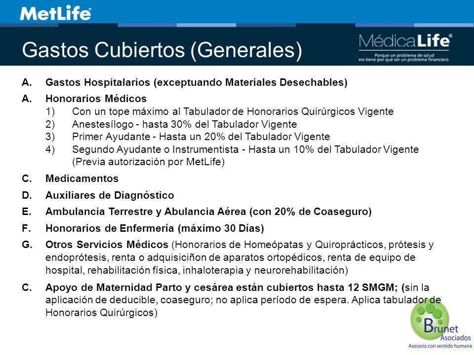 ConceptoBeneficios Maternidad Parto y cesárea están cubiertos hasta 12 SMGM; sin la aplicación de deducible, coaseguro; no aplica período de espera.