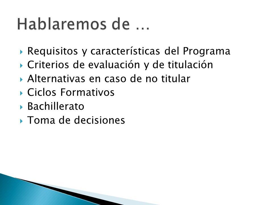 Requisitos y características del Programa Criterios de evaluación y de titulación Alternativas en caso de no titular Ciclos Formativos Bachillerato Toma de decisiones