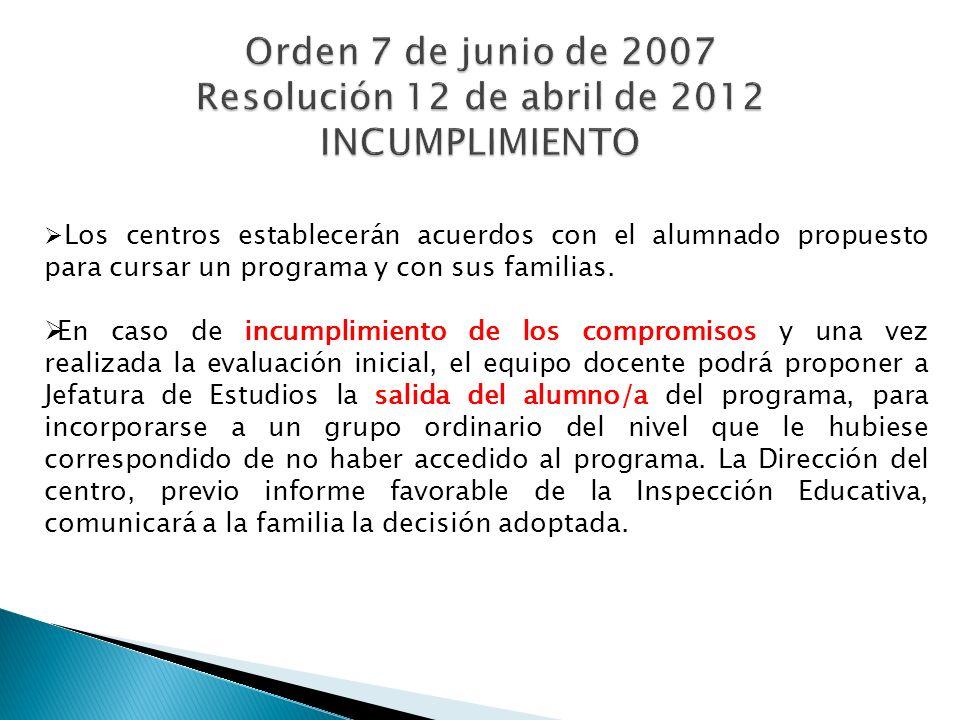Los centros establecerán acuerdos con el alumnado propuesto para cursar un programa y con sus familias.