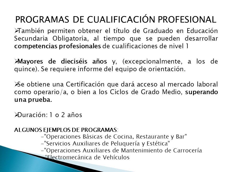 PROGRAMAS DE CUALIFICACIÓN PROFESIONAL También permiten obtener el título de Graduado en Educación Secundaria Obligatoria, al tiempo que se pueden desarrollar competencias profesionales de cualificaciones de nivel 1 Mayores de dieciséis años y, (excepcionalmente, a los de quince).