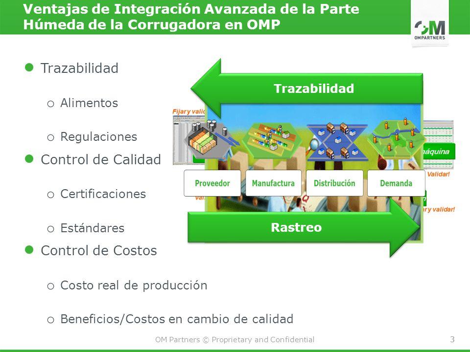 3 OM Partners © Proprietary and Confidential 3 Ventajas de Integración Avanzada de la Parte Húmeda de la Corrugadora en OMP Trazabilidad oAoA limentos