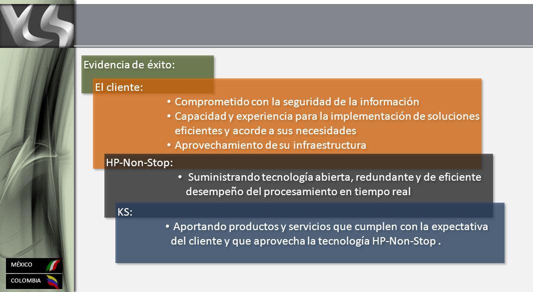 COLOMBIA MÉXICO Evidencia de éxito: El cliente: Comprometido con la seguridad de la información Capacidad y experiencia para la implementación de soluciones eficientes y acorde a sus necesidades Aprovechamiento de su infraestructura El cliente: Comprometido con la seguridad de la información Capacidad y experiencia para la implementación de soluciones eficientes y acorde a sus necesidades Aprovechamiento de su infraestructura HP-Non-Stop: Suministrando tecnología abierta, redundante y de eficiente desempeño del procesamiento en tiempo real HP-Non-Stop: Suministrando tecnología abierta, redundante y de eficiente desempeño del procesamiento en tiempo real KS: Aportando productos y servicios que cumplen con la expectativa del cliente y que aprovecha la tecnología HP-Non-Stop.