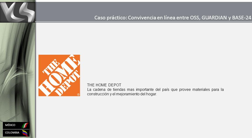 COLOMBIA MÉXICO Caso práctico: Convivencia en línea entre OSS, GUARDIAN y BASE-24 THE HOME DEPOT La cadena de tiendas mas importante del país que provee materiales para la construcción y el mejoramiento del hogar.