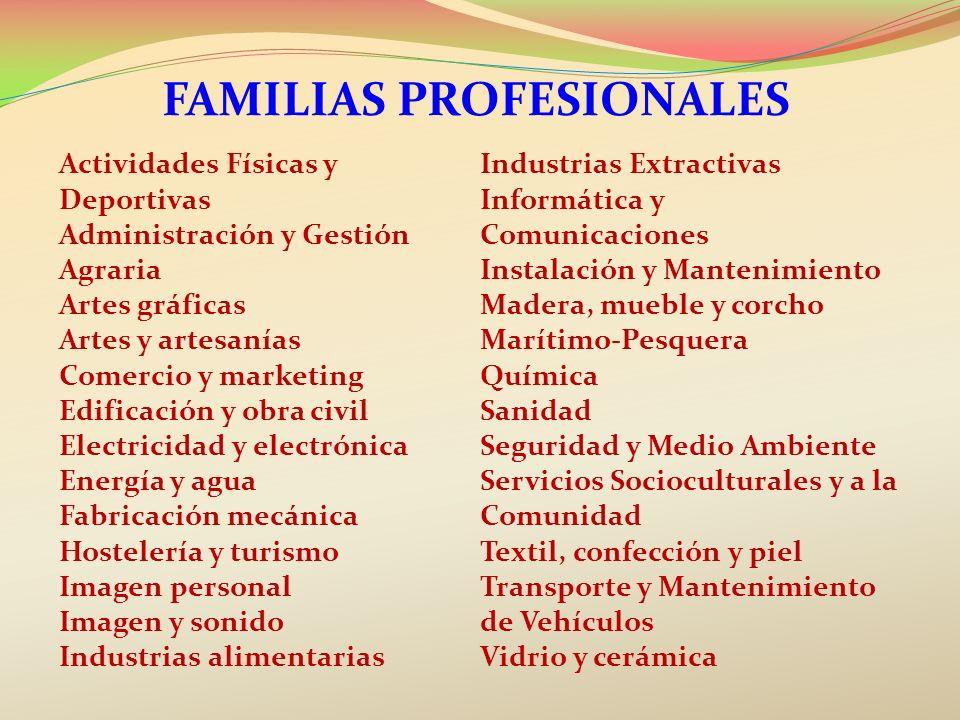 Actividades Físicas y Deportivas Administración y Gestión Agraria Artes gráficas Artes y artesanías Comercio y marketing Edificación y obra civil Elec