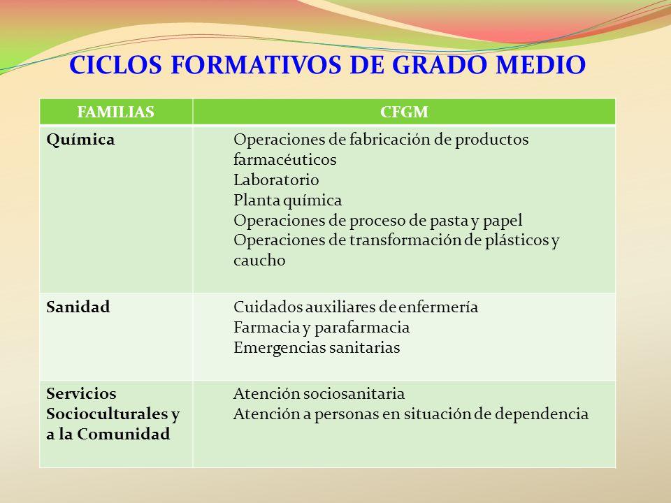 CICLOS FORMATIVOS DE GRADO MEDIO FAMILIASCFGM QuímicaOperaciones de fabricación de productos farmacéuticos Laboratorio Planta química Operaciones de p