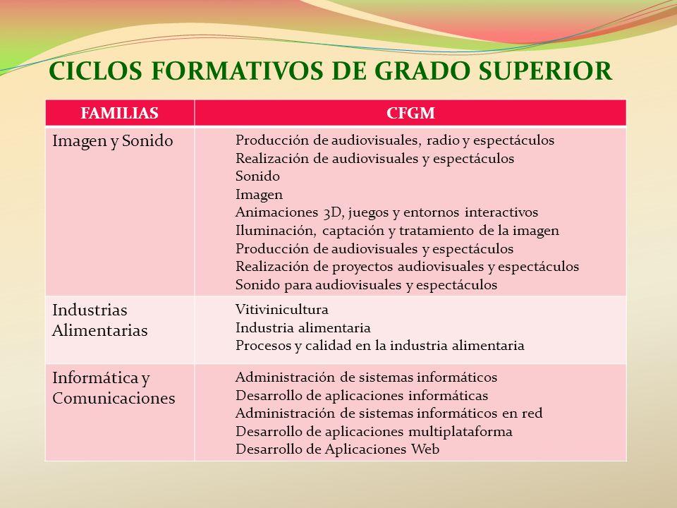 CICLOS FORMATIVOS DE GRADO SUPERIOR FAMILIASCFGM Imagen y Sonido Producción de audiovisuales, radio y espectáculos Realización de audiovisuales y espe