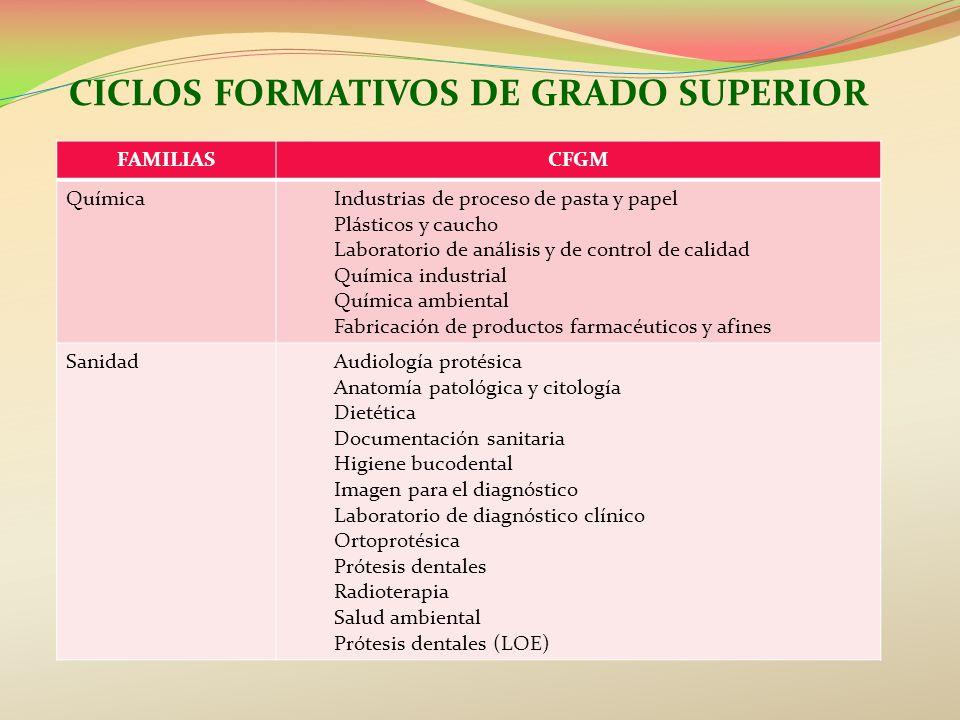 CICLOS FORMATIVOS DE GRADO SUPERIOR FAMILIASCFGM QuímicaIndustrias de proceso de pasta y papel Plásticos y caucho Laboratorio de análisis y de control