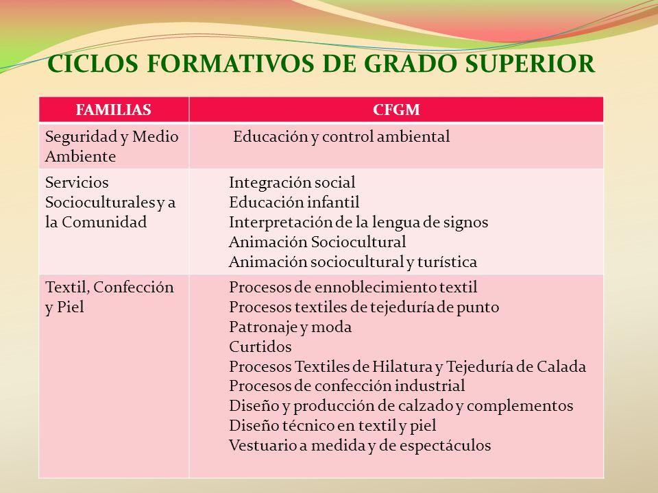 CICLOS FORMATIVOS DE GRADO SUPERIOR FAMILIASCFGM Seguridad y Medio Ambiente Educación y control ambiental Servicios Socioculturales y a la Comunidad I