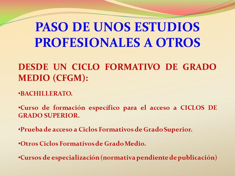 PASO DE UNOS ESTUDIOS PROFESIONALES A OTROS DESDE UN CICLO FORMATIVO DE GRADO MEDIO (CFGM): BACHILLERATO. Curso de formación específico para el acceso
