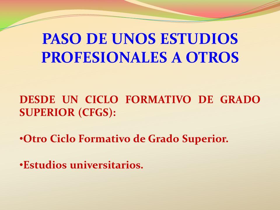 PASO DE UNOS ESTUDIOS PROFESIONALES A OTROS DESDE UN CICLO FORMATIVO DE GRADO SUPERIOR (CFGS): Otro Ciclo Formativo de Grado Superior. Estudios univer