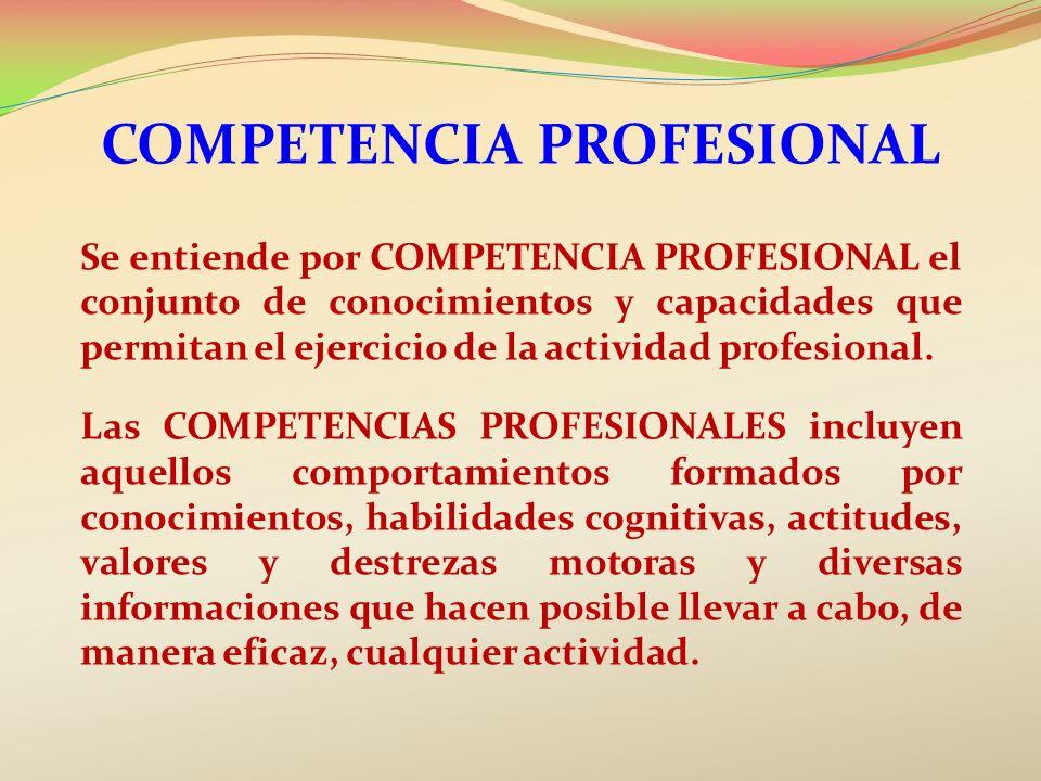 COMPETENCIA PROFESIONAL Se entiende por COMPETENCIA PROFESIONAL el conjunto de conocimientos y capacidades que permitan el ejercicio de la actividad p