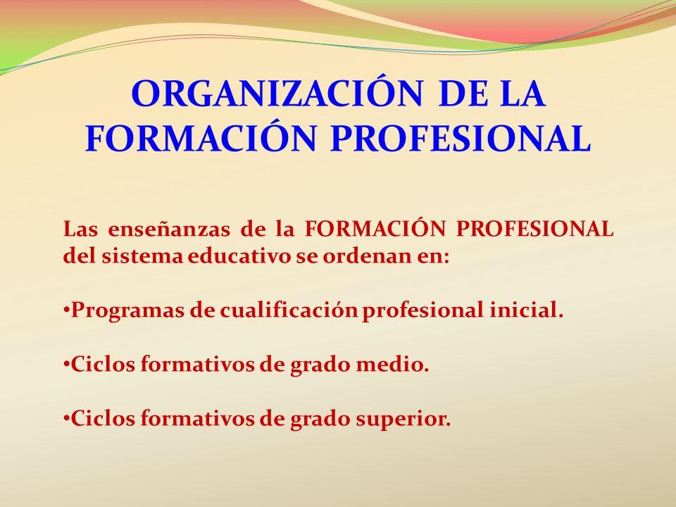 ORGANIZACIÓN DE LA FORMACIÓN PROFESIONAL Las enseñanzas de la FORMACIÓN PROFESIONAL del sistema educativo se ordenan en: Programas de cualificación pr