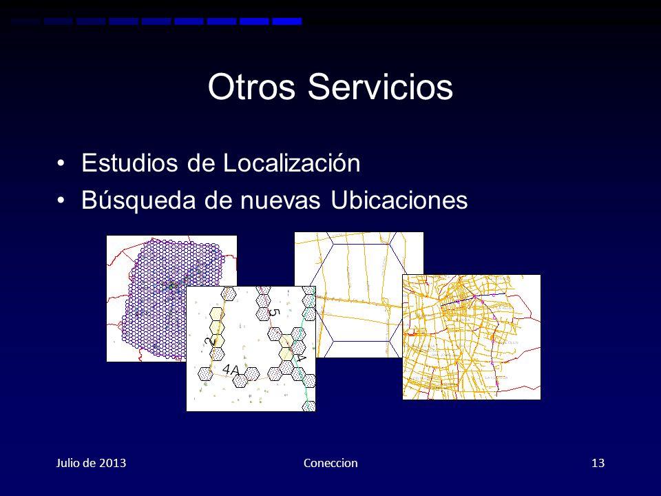 Otros Servicios Estudios de Localización Búsqueda de nuevas Ubicaciones Julio de 2013Coneccion13
