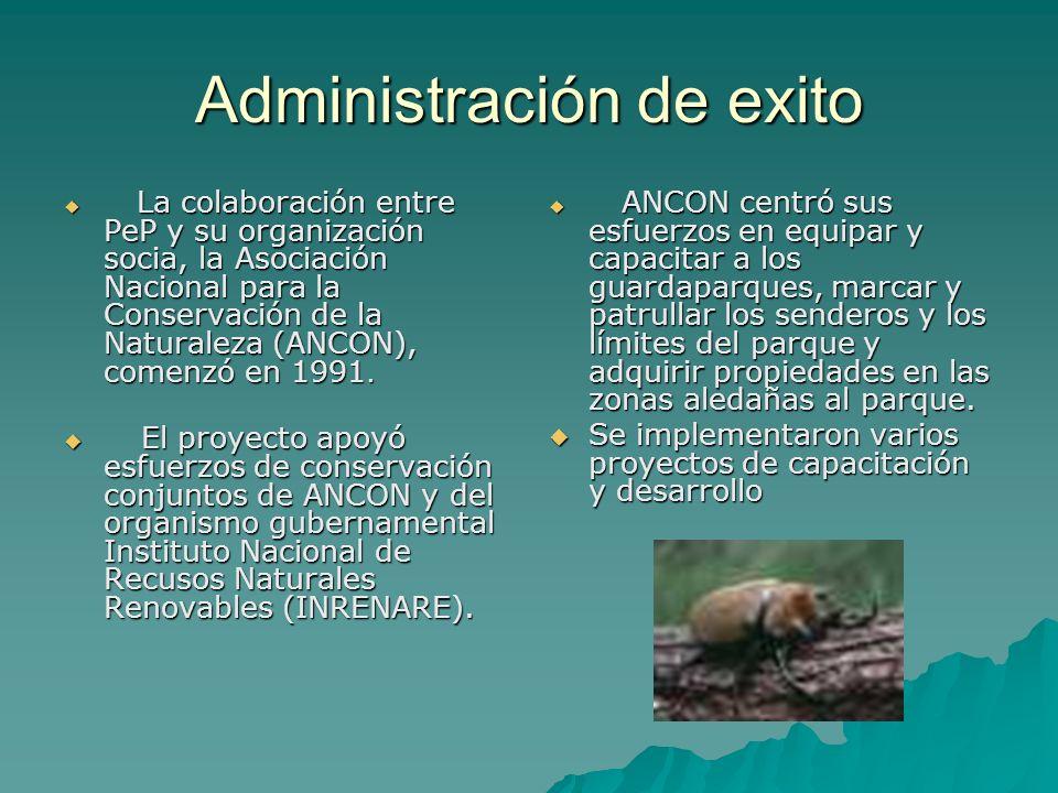 Administración de exito La colaboración entre PeP y su organización socia, la Asociación Nacional para la Conservación de la Naturaleza (ANCON), comen