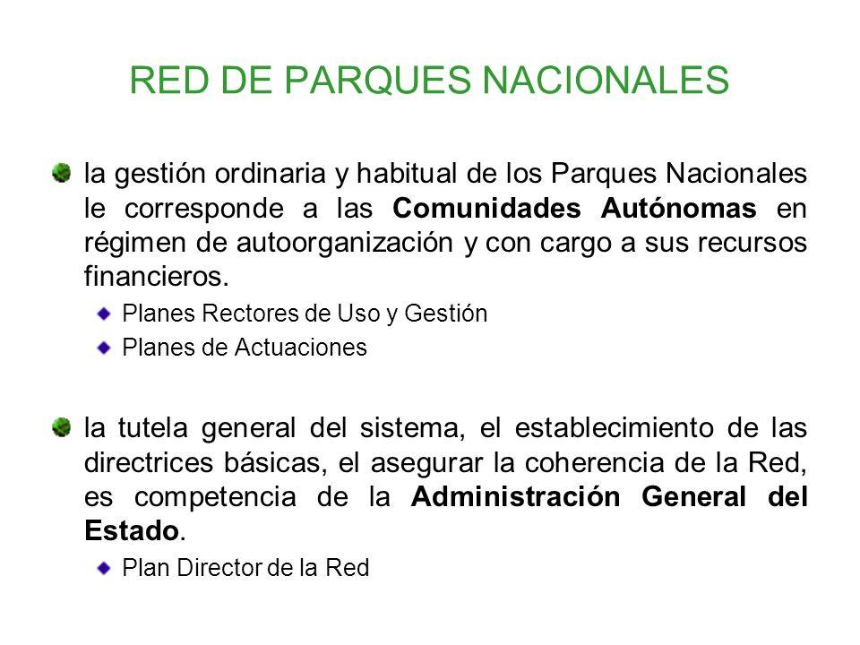 RED DE PARQUES NACIONALES la gestión ordinaria y habitual de los Parques Nacionales le corresponde a las Comunidades Autónomas en régimen de autoorgan