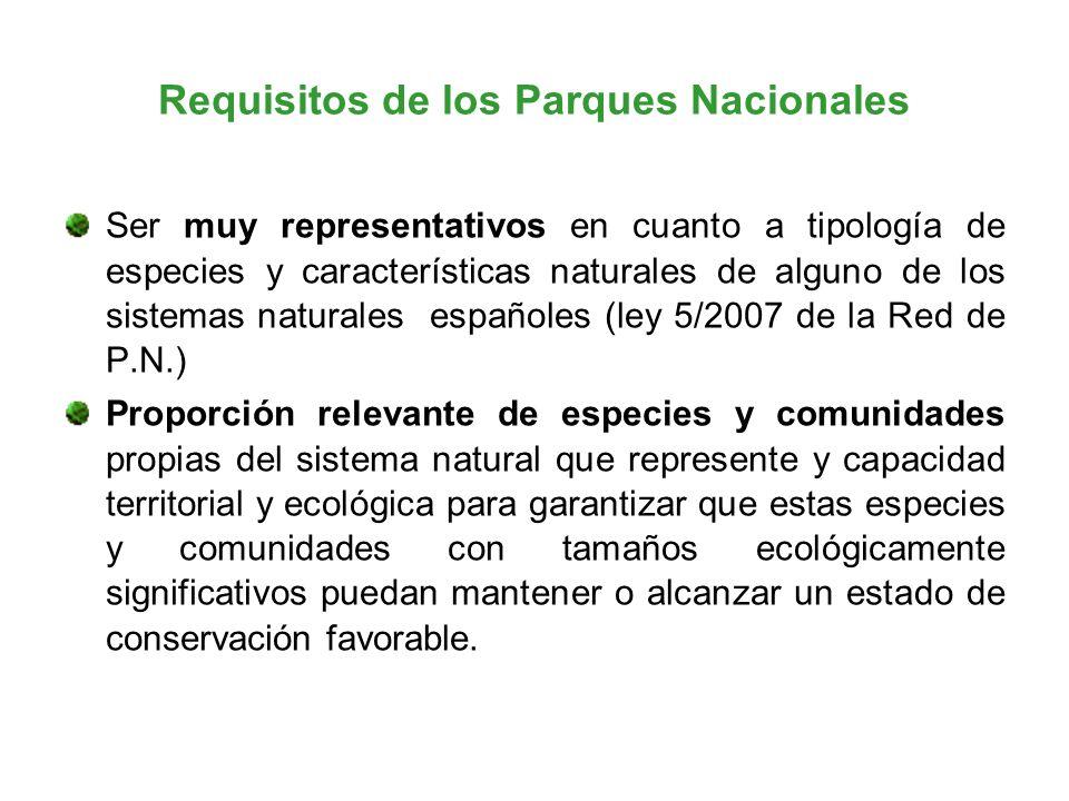 Requisitos de los Parques Nacionales Ser muy representativos en cuanto a tipología de especies y características naturales de alguno de los sistemas n