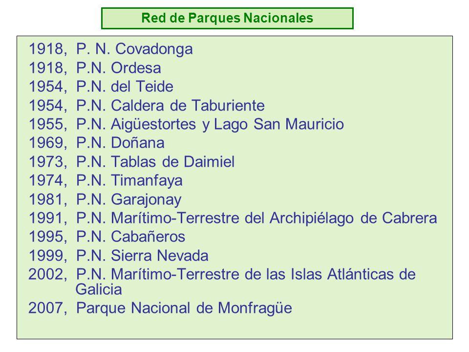Red de Parques Nacionales 1918, P. N. Covadonga 1918, P.N. Ordesa 1954, P.N. del Teide 1954, P.N. Caldera de Taburiente 1955, P.N. Aigüestortes y Lago