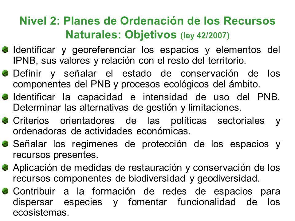 Nivel 2: Planes de Ordenación de los Recursos Naturales: Objetivos (ley 42/2007) Identificar y georeferenciar los espacios y elementos del IPNB, sus v