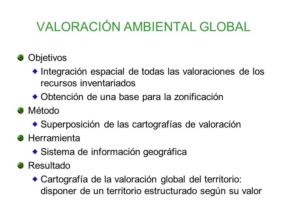 VALORACIÓN AMBIENTAL GLOBAL Objetivos Integración espacial de todas las valoraciones de los recursos inventariados Obtención de una base para la zonif
